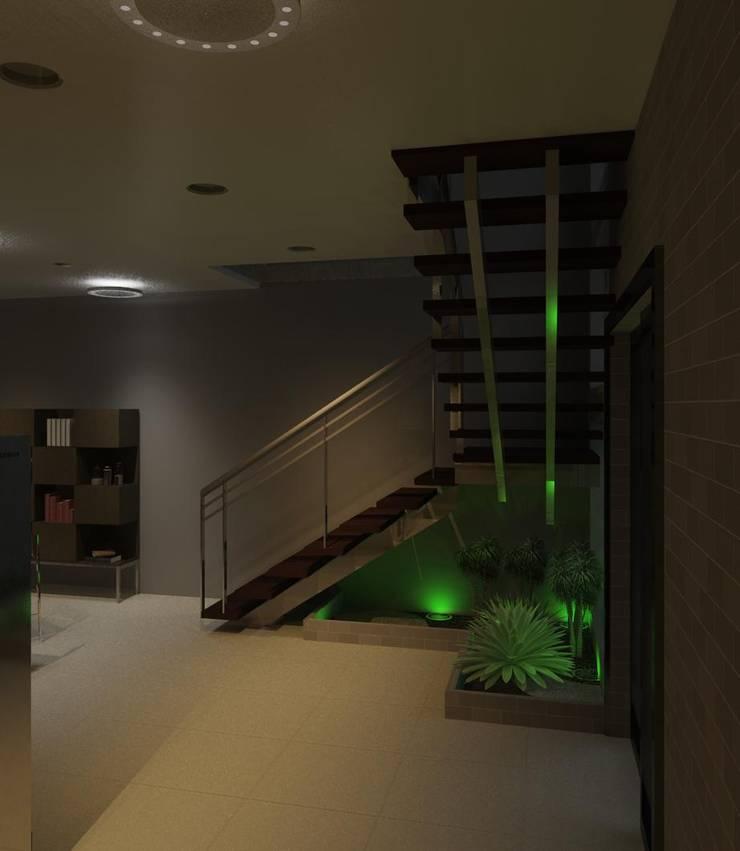 vista interna con detalle de la escalera: Pasillos y vestíbulos de estilo  por Diseño Store