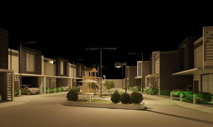Vista en nocturna del conjunto: Casas de estilo  por Diseño Store