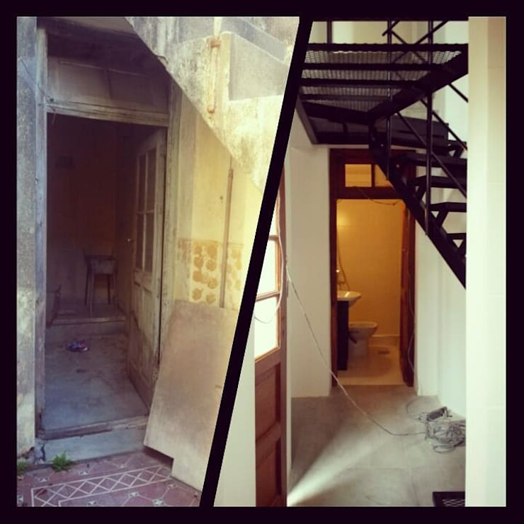 Hall - Antes y Después: Pasillos y recibidores de estilo  por estudionvarquitectura
