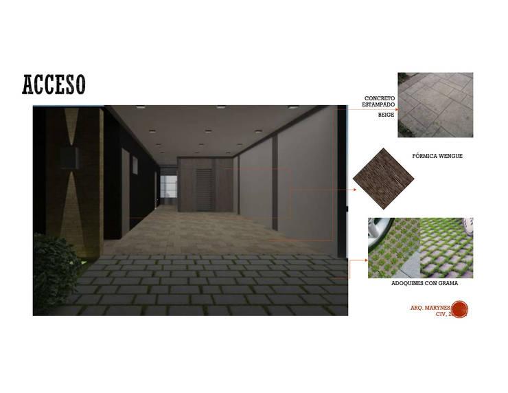 INTERIORISMO DE UNA VIVIENDA UNIFAMILIAR: Garajes y galpones de estilo  por Arq. Marynes Salas