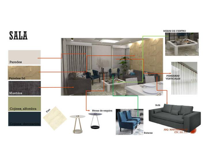 INTERIORISMO DE UNA VIVIENDA UNIFAMILIAR: Salas / recibidores de estilo  por Arq. Marynes Salas