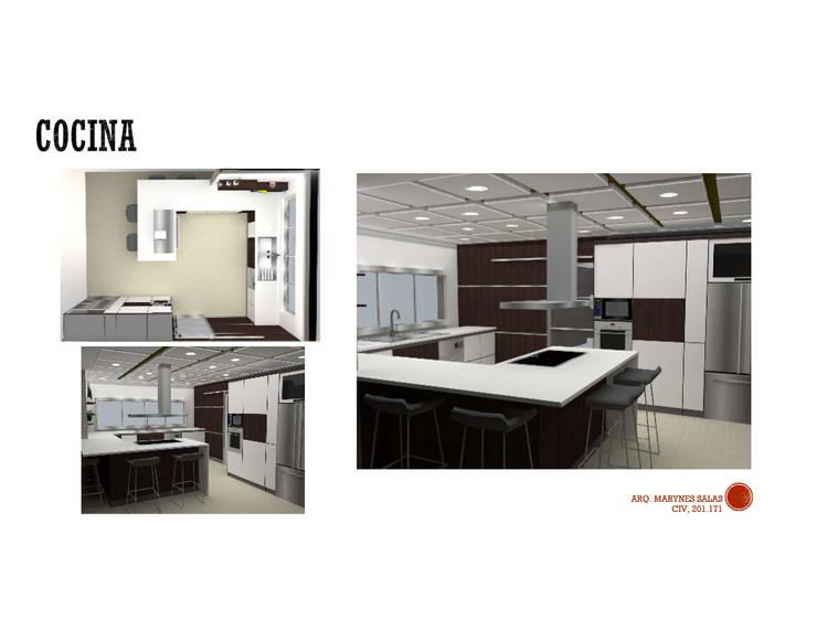 INTERIORISMO DE UNA VIVIENDA UNIFAMILIAR: Cocinas de estilo  por Arq. Marynes Salas