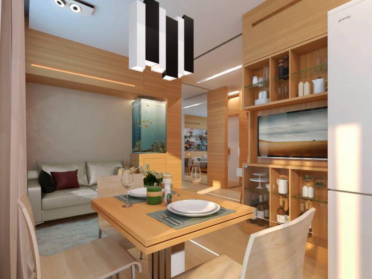 Однокомнатная квартира-трансформер: Кухни в . Автор – Архитектурное бюро Лены Гординой