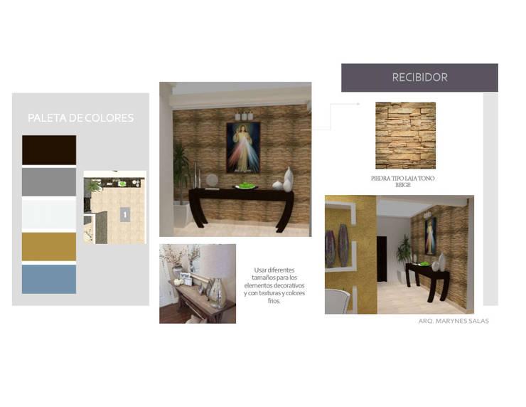 Loby: Pasillos y vestíbulos de estilo  por Arq. Marynes Salas
