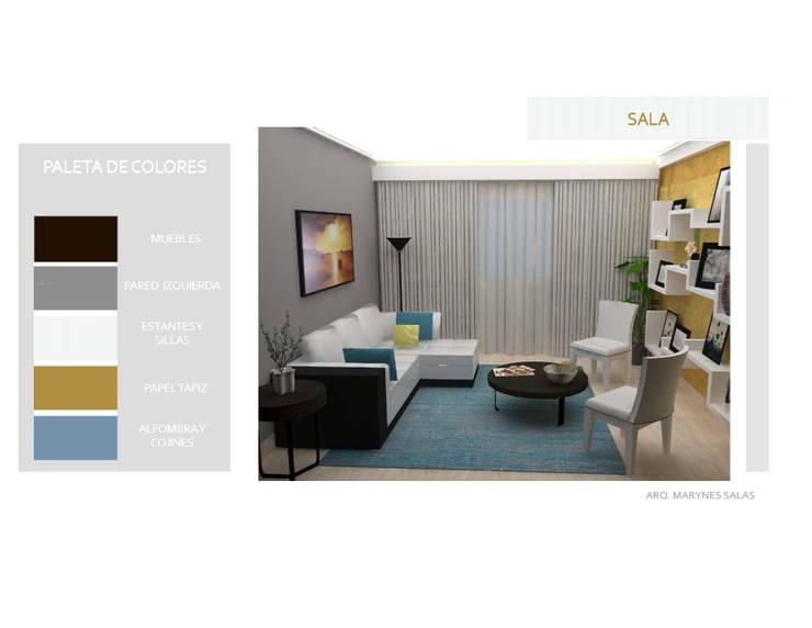 Sala: Salas / recibidores de estilo  por Arq. Marynes Salas