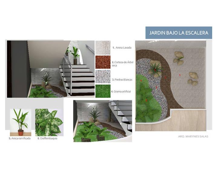 Debajo de la Escalera: Pasillos y vestíbulos de estilo  por Arq. Marynes Salas