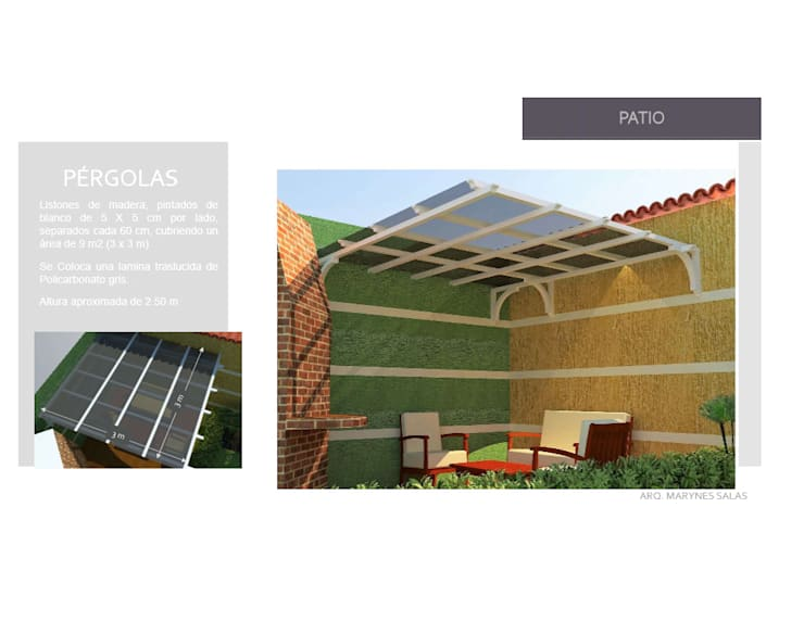 Diseño de pergola: Jardines de estilo  por Arq. Marynes Salas