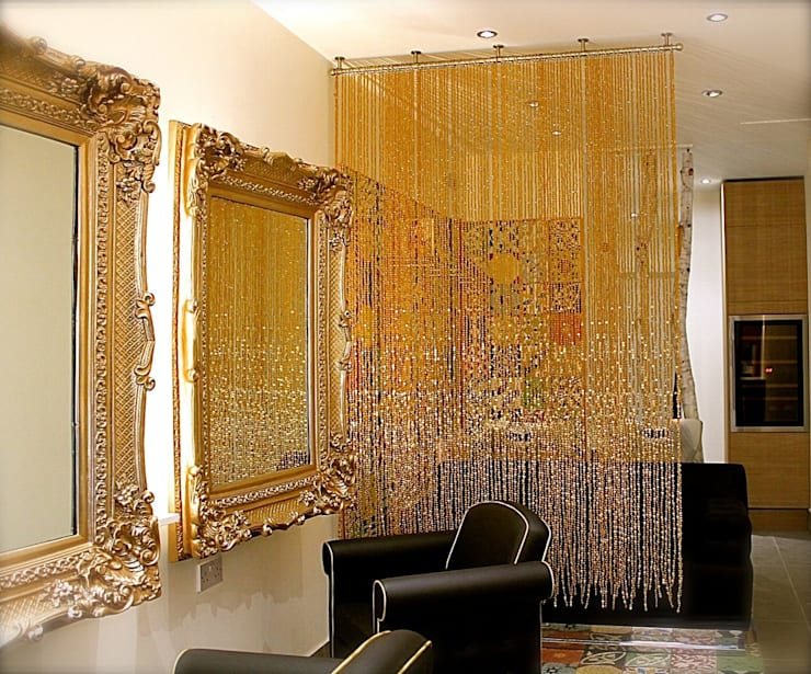 Champagne Gold Luxurious Acrylic Crystal Bead Curtain:  Living room by Memories of a Butterfly: bead curtains/screens/installations/Hanging Sculptures