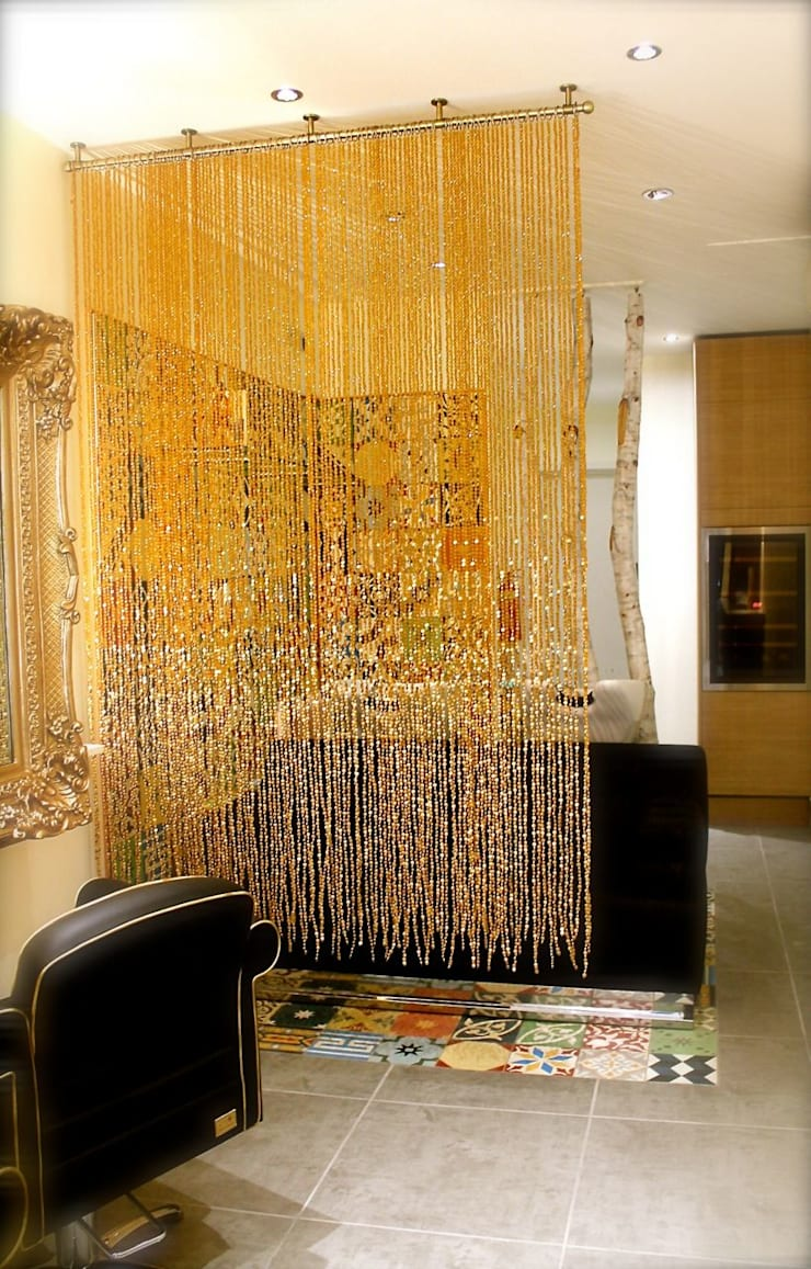 Champagne Gold Luxurious Acrylic Crystal Bead Curtain:  Spa by Memories of a Butterfly: bead curtains/screens/installations/Hanging Sculptures