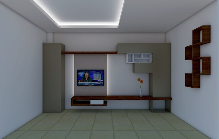 LIVING AREA FALSE CEILING AND TV CABINET: modern  by Shitiz architects,Modern Wood Wood effect