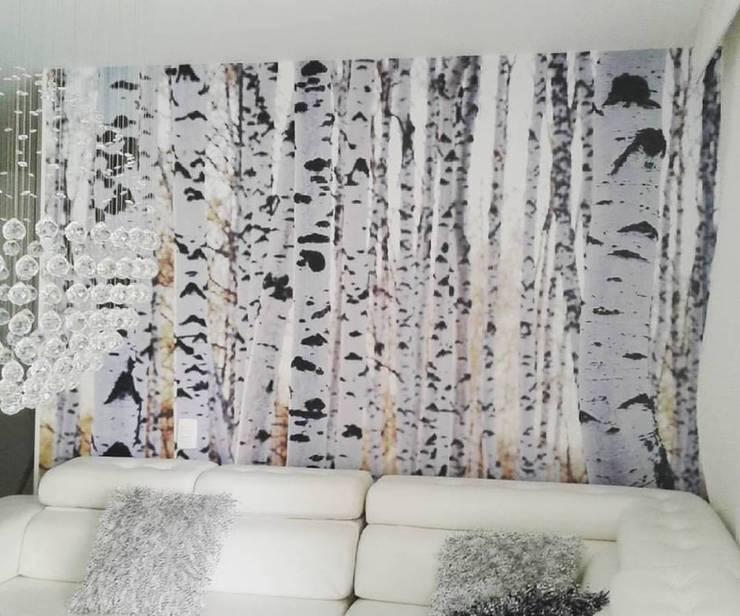FOTO-MURAL ABEDULES: Salas de estilo  por Flap deco, Escandinavo