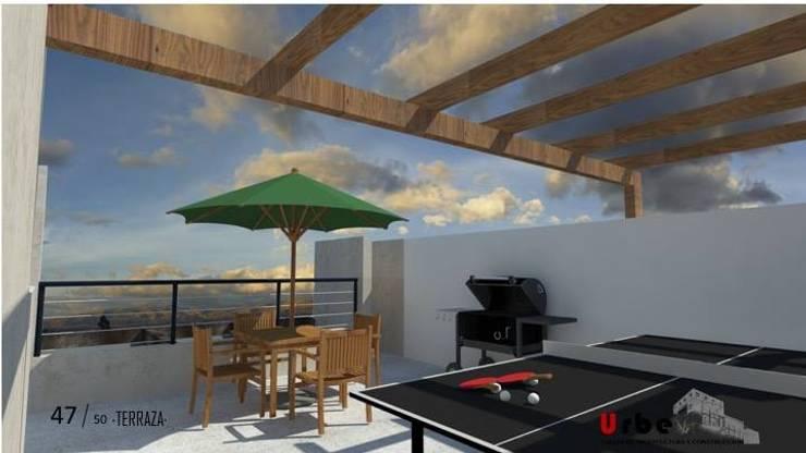 Ho.Av.: Terrazas de estilo  por Urbe. Taller de Arquitectura y Construcción