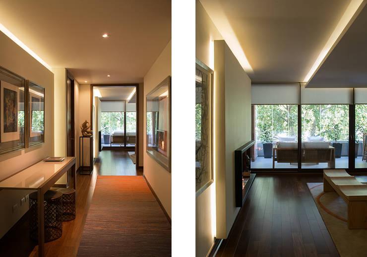 hall acceso + acceso a living: Pasillos y hall de entrada de estilo  por Thomas Löwenstein arquitecto