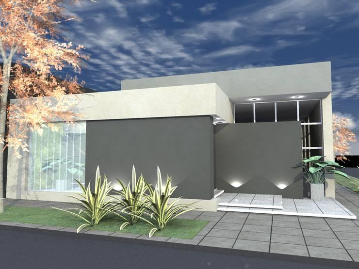 Fachada sobre calle Soler.: Galerías y espacios comerciales de estilo  por PRAD Arquitectura,