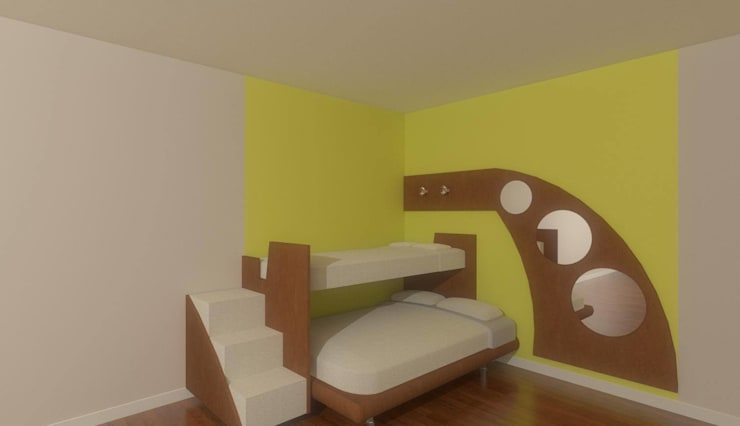 Kids room in 2BHK, Ramky Towers:  Nursery/kid's room by Kreative design studio