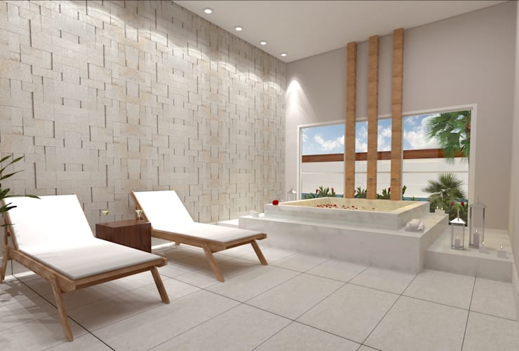 Spa de estilo  por Híbrida Arquitetura, Engenharia e Construção