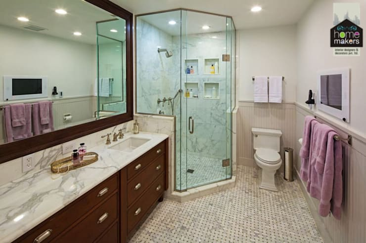 Stylish Washroom: modern Bathroom by home makers interior designers & decorators pvt. ltd.