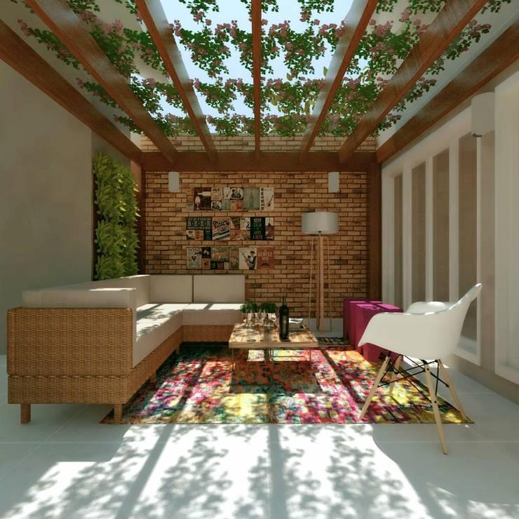 pergolado de madeira: Garagens e edículas  por Cíntia Schirmer | arquiteta e urbanista