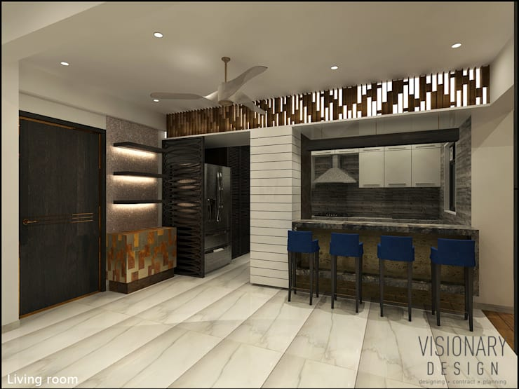 OPEN KITCHEN CONCEPT:  Living room by VISIONARY DESIGN