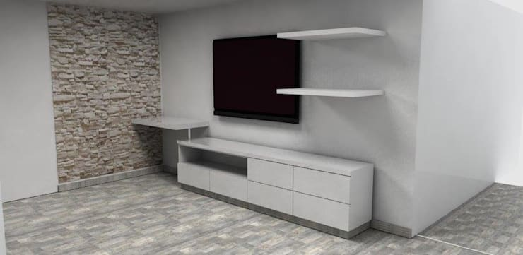 centro de tv para sala: Sala multimedia de estilo  por Camargo estudio creativo