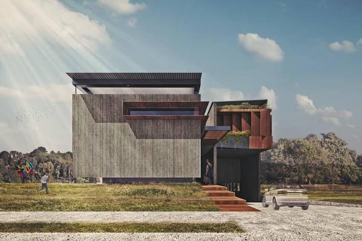 Fachada : Casas de estilo industrial por HDA: ARQUITECTURA BIOCLIMATICA