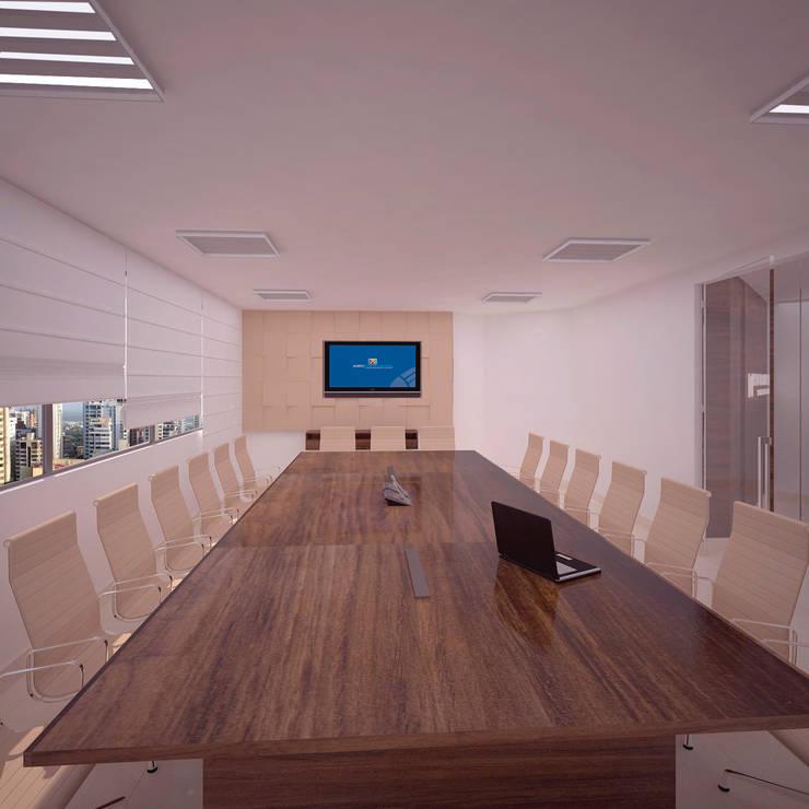 Sala de Juntas: Oficinas y Tiendas de estilo  por Fiallo Design Studio
