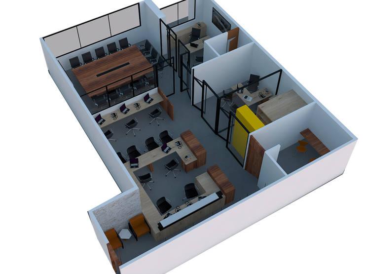 Vista en Plano: Oficinas y Tiendas de estilo  por Fiallo Design Studio