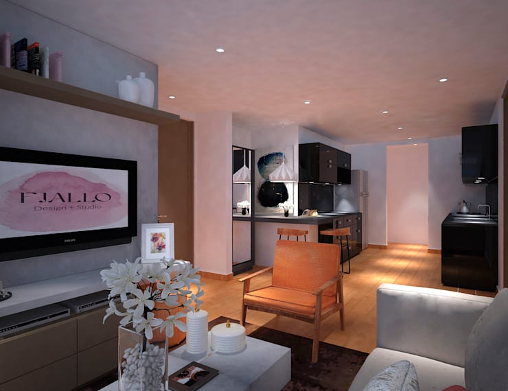 Sala: Salas de estilo  por Fiallo Design Studio