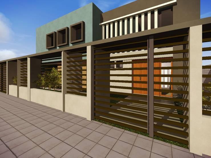 Fachada Vivienda : Casas de estilo  por Estudio Pauloni Arquitectura ,Moderno
