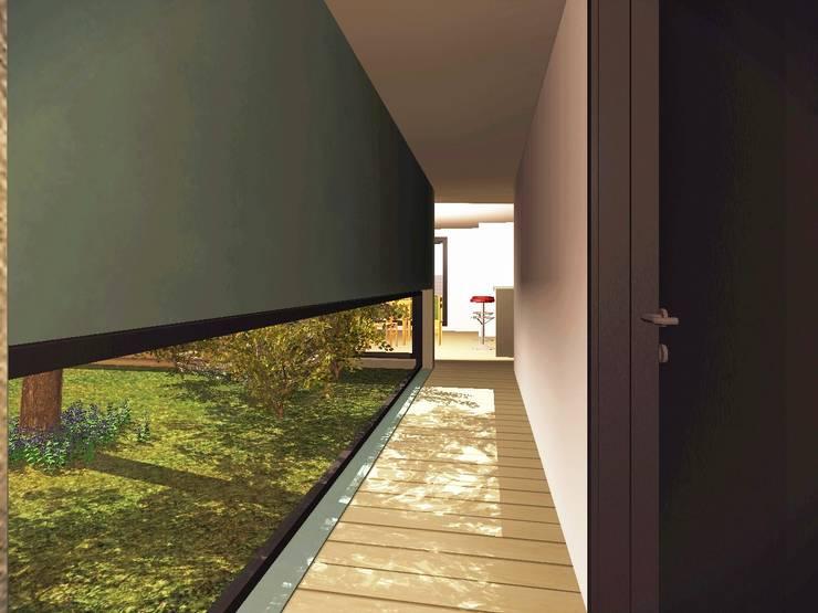 Pasillo interior : Pasillos y recibidores de estilo  por Estudio Pauloni Arquitectura ,Moderno