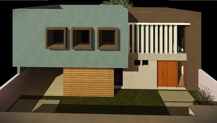 Vista aerea fachada: Casas de estilo  por Estudio Pauloni Arquitectura ,Moderno