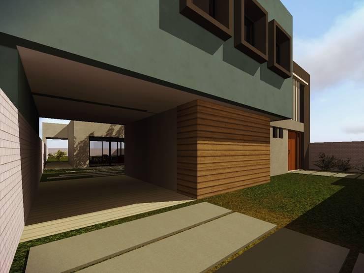 Ingreso garaje: Garajes de estilo  por Estudio Pauloni Arquitectura ,Moderno