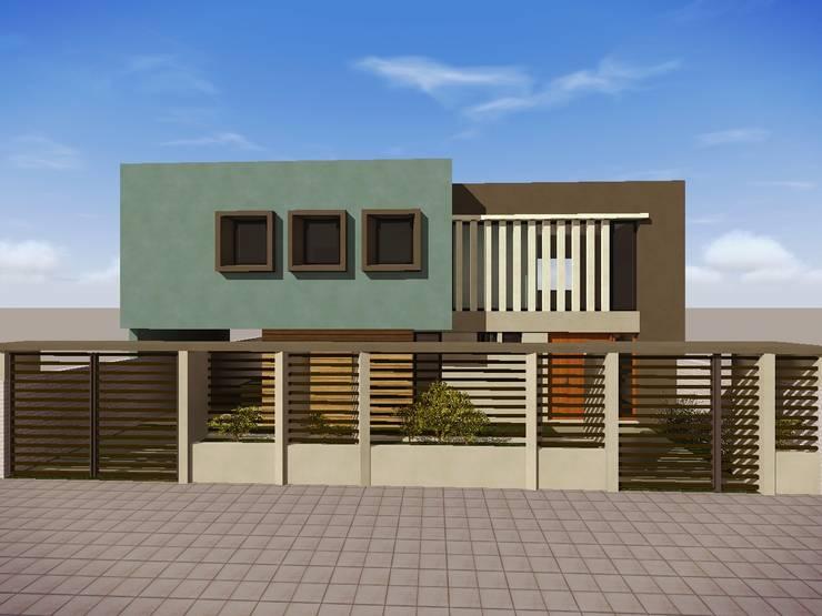 Fachada Vivienda YB: Casas de estilo  por Estudio Pauloni Arquitectura ,Moderno
