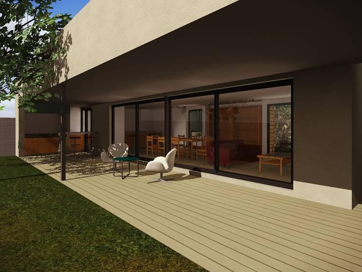 Galeria exterior con parrilla: Casas de estilo  por Estudio Pauloni Arquitectura ,Moderno