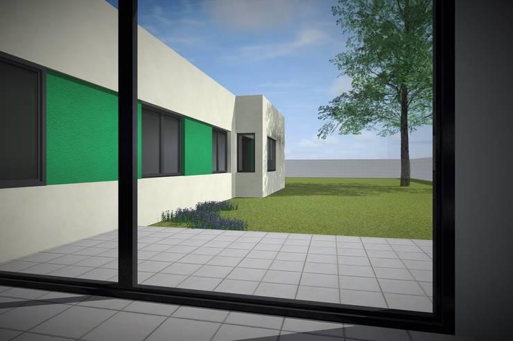 Modelo 3d / Vista Patio: Jardines de estilo  por Estudio Pauloni Arquitectura