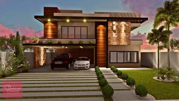 Fachada residencial moderna: Casas  por Deborah Iachinski Arquitetura & Interiores