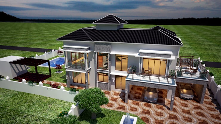 Trishur villa:  Houses by Gurooji Designs