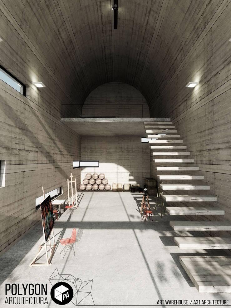 Art Warehouse / A31Architecture: Pasillos y vestíbulos de estilo  por Polygon Arquitectura