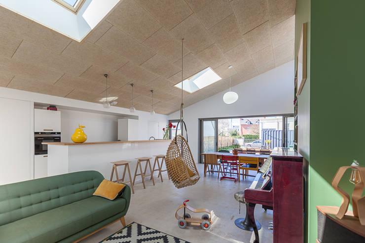industrial Living room by bertin bichet architectes