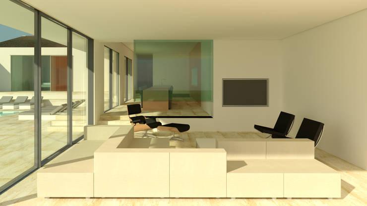 Villa Algarve Loule Portugal 37°10'N 7°59′W:  Woonkamer door MOTUS architects, Modern