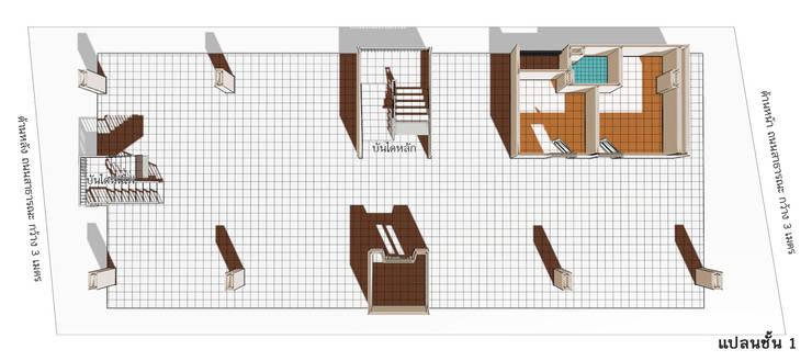 แบบอาคารพักอาคัย 5 ชั้น 29 ห้องนอน:  ระเบียง, นอกชาน by th-design