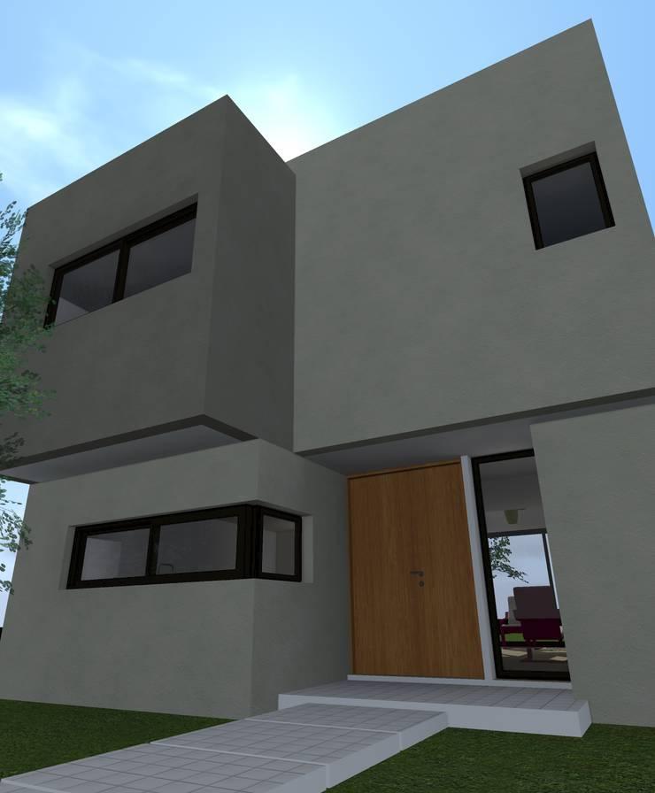 Fachada frente / 3d: Casas de estilo  por Estudio Pauloni Arquitectura ,