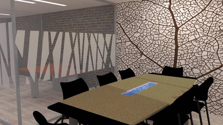 REMODELACION OFICINAS BRAVISSIMO: Oficinas y Comercios de estilo  por H2H arquitectos
