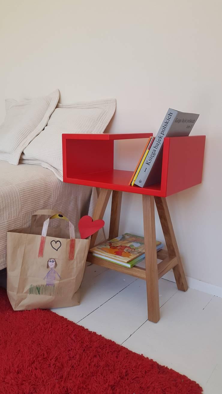Stolik nocny czerwony : styl , w kategorii Sypialnia zaprojektowany przez ACOCO DESIGN