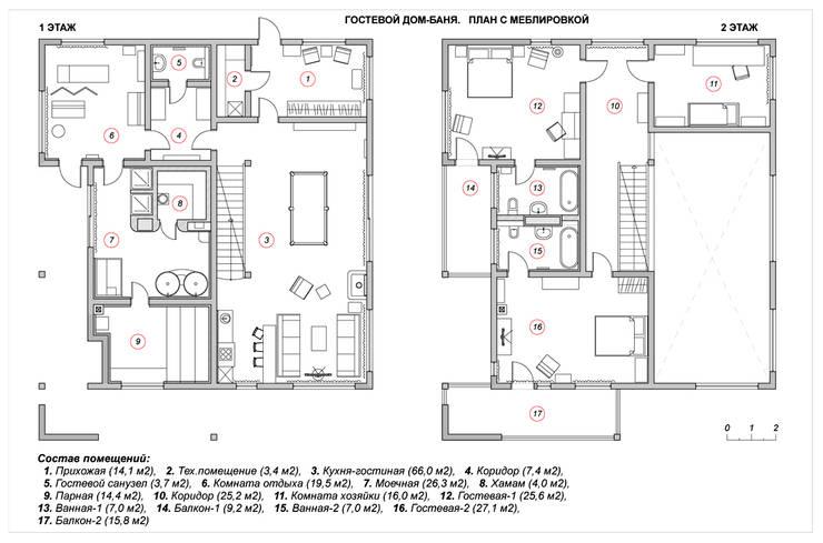 Гостевой дом-баня. План с меблировкой:  в . Автор – Эдуард Григорьев (daproekt)