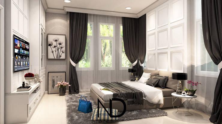 ออกแบบตกแต่งภายใน บ้านพักอาศัย 1 ชั้น K.โอ๊ต:  ห้องนอน by ND Design interior Design & Decorate