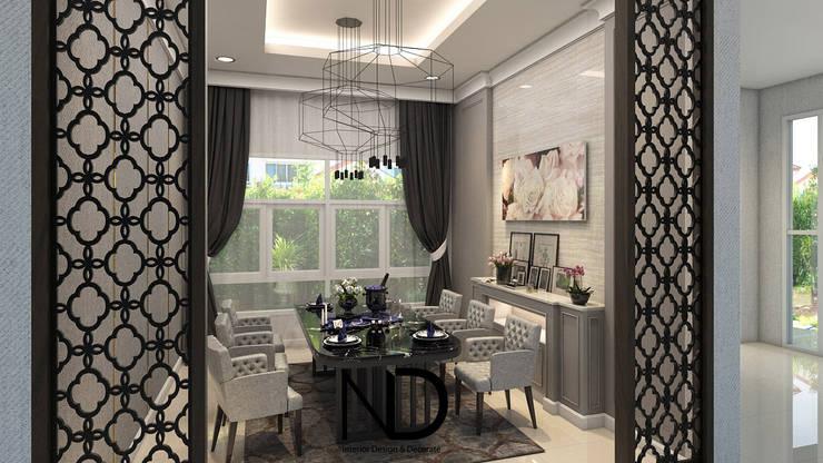 ออกแบบตกแต่งภายใน บ้านพักอาศัย 1 ชั้น K.โอ๊ต:  ห้องทานข้าว by ND Design interior Design & Decorate