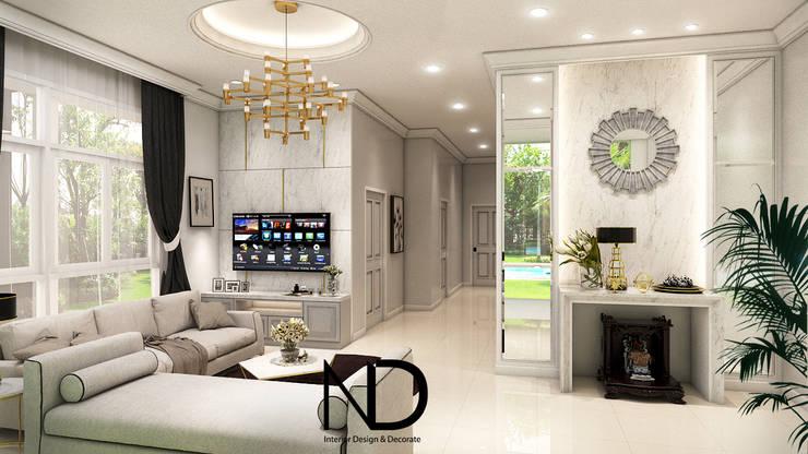 ออกแบบตกแต่งภายใน บ้านพักอาศัย 1 ชั้น K.โอ๊ต:  ห้องนั่งเล่น by ND Design interior Design & Decorate