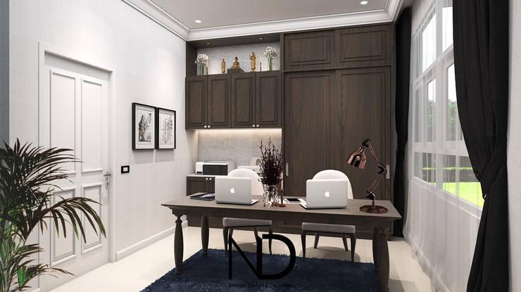 ออกแบบตกแต่งภายใน บ้านพักอาศัย 1 ชั้น K.โอ๊ต:  ห้องอ่านหนังสือและห้องทำงาน by ND Design interior Design & Decorate