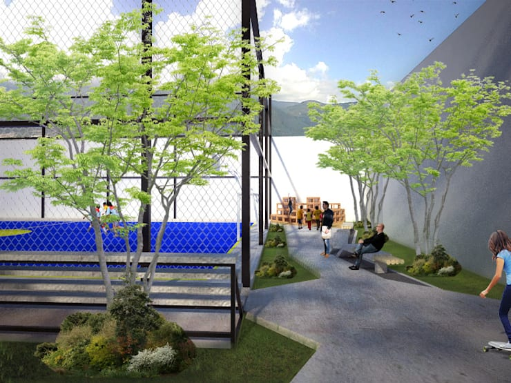 Area de contemplación: Terrazas de estilo  por Taller de Desarrollo Urbano